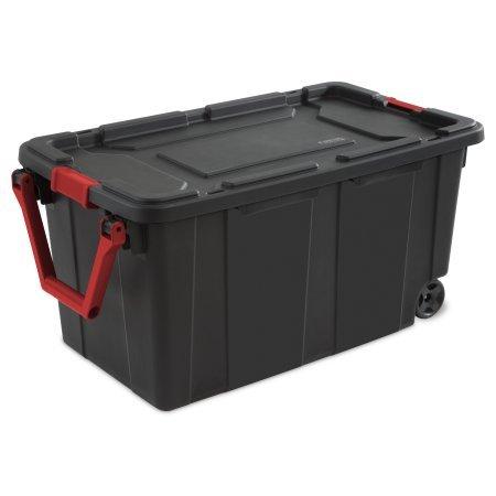 Sterilite 40 Gal./151 L Wheeled Industrial Tote, Black - 4 Pack