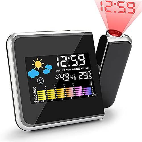 Punvot Wecker mit Projektion, Projektionswecker, LED Projektion Wecker, USB Aufladung LCD Farb Displaybeleuchtung 180 ° Projektion Snooze Wecker Temperaturanzeige Hygrometer Uhrzeit Datumsanzeige