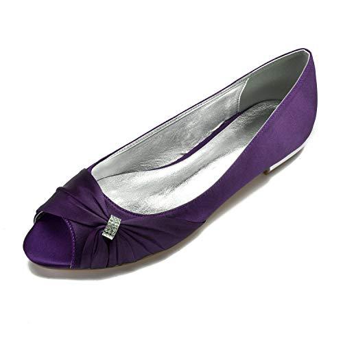SDJQZ Zapatos Cómodos para Mujer Satén Primavera Verano Zapatos De Boda Tacón...