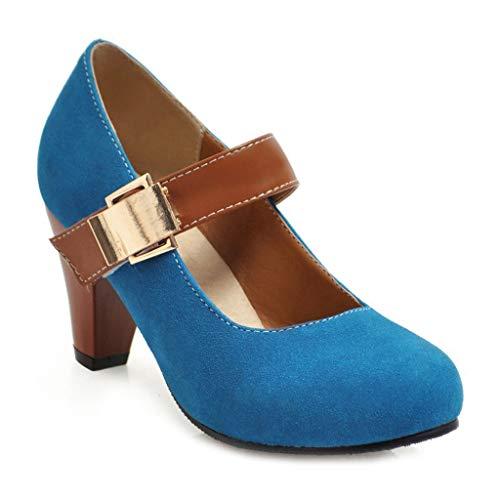 MIOKE Women's Vintage Round Toe Mary Jane Pumps Buckle Platform Chunky High Heel Brogue Oxford Dress Shoes Blue