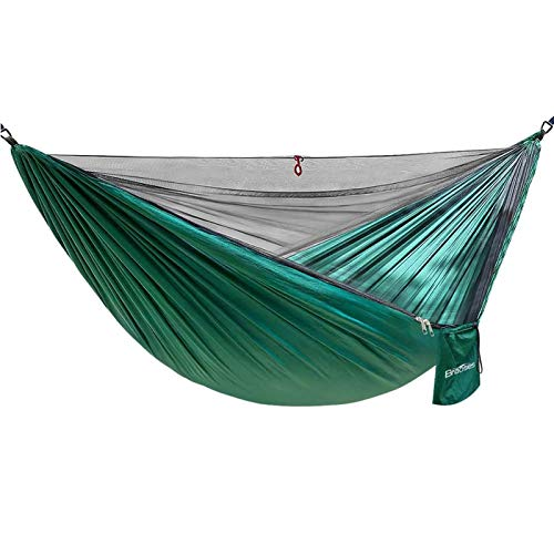 Double Single Camping Hammock,Portable Hammock with Net and Tree Straps,Lightweight Parachute Nylon Hammock for Backpacking Travel Beach Yard Outdoor Indoor(Dark Green)