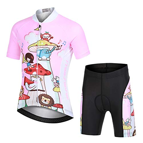 FREE FISHER Kids Cycling Jersey Set with 3D Padded Shorts Cartoon Bike Top,Animal,Small