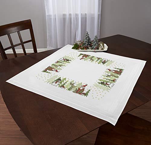 Kamaca Stickpackung X-Mas Friends mit Rentieren Schneemann und Weihnachtsmann Kreuzstich vorgezeichnet Baumwolle Stickset mit Stickvorlage Weihnachten (Mitteldecke 80x80 cm)