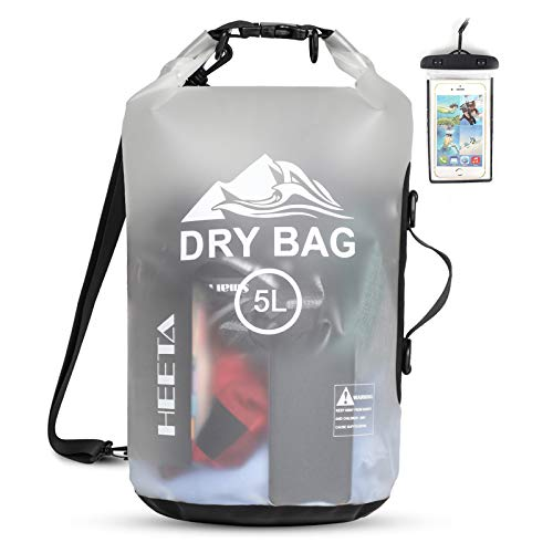 HEETA Waterproof Dry Bag for Women Men, 5L/ 10L/ 20L Roll Top Lightweight Dry Storage Bag Backpack with Phone Case for Travel, Swimming, Boating, Kayaking, Camping and Beach (White 20L)