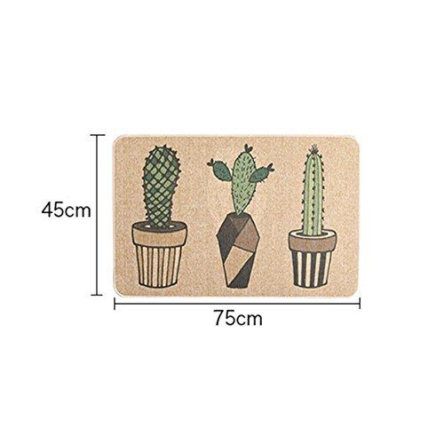 """USTIDE Cactus Flowers Natural Rubber Back Kitchen Rug Sets Anti-Slip Mat for Bath 17.7""""x29.5"""""""