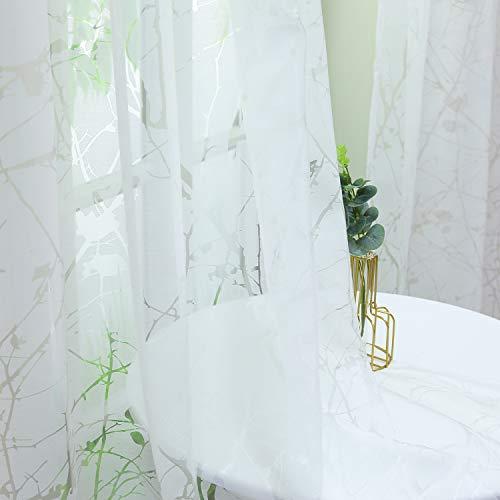 Heichkell Transparente Gardine Ausbrenner mit Schlaufen Voile Schlaufenvorhang für Wohnzimmer Blumenmuster Fenster Dekoschals 1 Stück Weiß 145 cm x 140 cm(H x B)