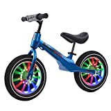 Bicicleta Sin Pedales Bici Niños Pequeños Muchachas Bicicleta De Equilibrio De Entrenamiento Con Ruedas De Luces, 300 Mm / 350 Mm Neumáticos De Goma Bicicleta Sin Pedales Para Niños De 2 3 4 5 6 7 8 A