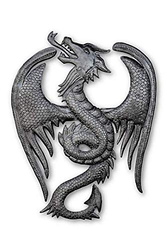Dragon, Mythical Celtic, and Gothic Sculpture, Authentic Upcycled Artwork from Haiti, Metal Wall Hanging Décor, 13.5 In. X 18 In.