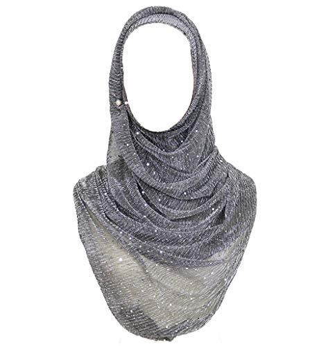 GERINLY Neck Scarf Wrap For Muslim Head Wrap Lightweight Women Hair Hjiab Cover For Sleeping (Grey Black)