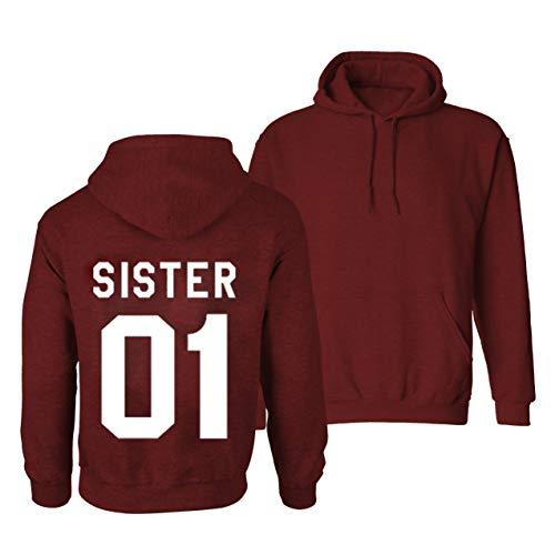 Daisy for U  1 Stück Beste Freunde Pullover für Zwei Mädchen Best Friends Hoodie BFF Pullover Sister Kapuzenpullover Damen Pulli Geburtstagsgeschenk, S, Rot1