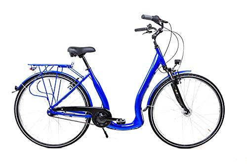 28 Zoll Alu Fahrrad City Bike Damen 7 Gang Nabenschaltung Tiefeinsteiger Saphir Blau