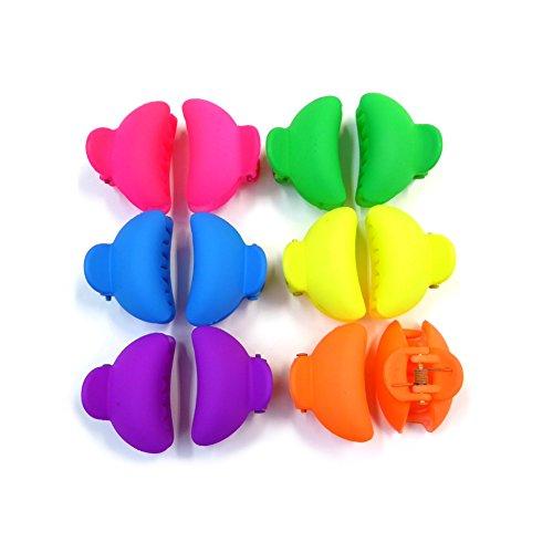 rougecaramel - Accessoires cheveux - Petite pince crabe cheveux 3cm 12pcs - couleurs assorties fluo