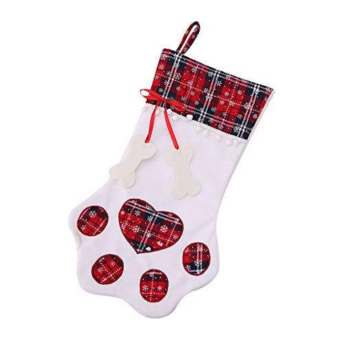 ZHANSANFM Nikolausstrumpf Cat, Weihnachts hängende Strümpfe Weihnachten Baum Hängend Party Hotel Home Kamin Dekoration Plüsch Katzenkralle Strumpf Socke Geschenk Süßigkeiten Taschen