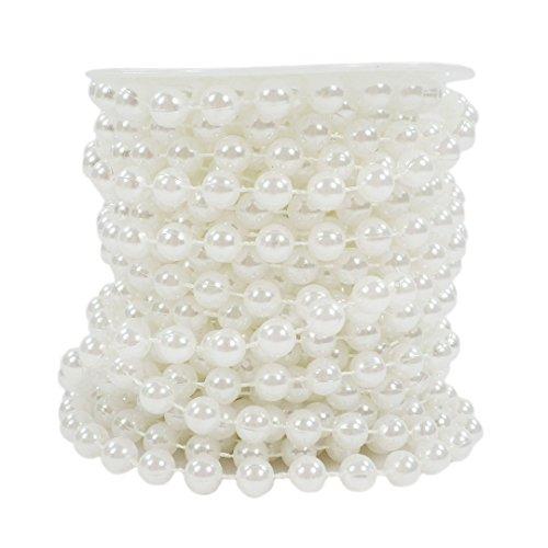 Sepkina Set Perlenband Perlenkette Perlengirlande Perlenschnur Weihnachten Advent Hochzeit Deko Tischdeko Meterware (S-P8-01-White-10m) (0,90€/m)