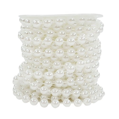Sepkina, Set di collana di perle decorative, adatta per il Natale, l'Avvento, i matrimoni e come decorazione per la tavola S-p8-01-white-10m