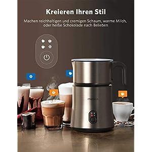 Milchaufschäumer, Miroco 250-500ml Entnehmbarer Automatischer Edelstahl Milchschäumer 4 in 1 Milchschaum heiß & kalt, heiße Schokolade, Milchbehälter kabellos, Spülmaschinengeeignet, leise