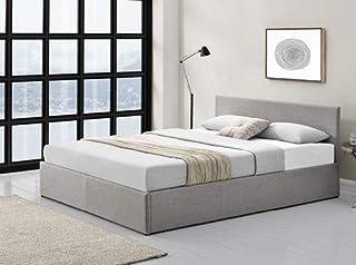 UsineStreet Cadre de lit Edgar avec sommier à Lattes - Couleur - Gris Clair, Largeur - 140 cm, Matière - Tissu