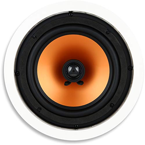 Micca M-8C 2-Way in Ceiling in Wall Speaker, 8 Inch Woofer, 1-Inch Pivoting Silk Dome Tweeter, 9.4-Inch Cutout Diameter, Each, White