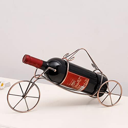 Huaji Soporte de botella de vino en forma de triciclo con 1 botella de vino creatividad, hierro dorado, perfecto para encimera de cocina