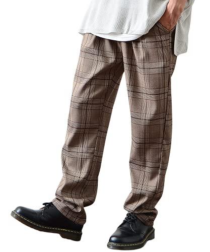 [JOKER Select(ジョーカーセレクト)]セミワイドテーパードパンツ チェックパンツ ウエストゴム カジュアル スラックス