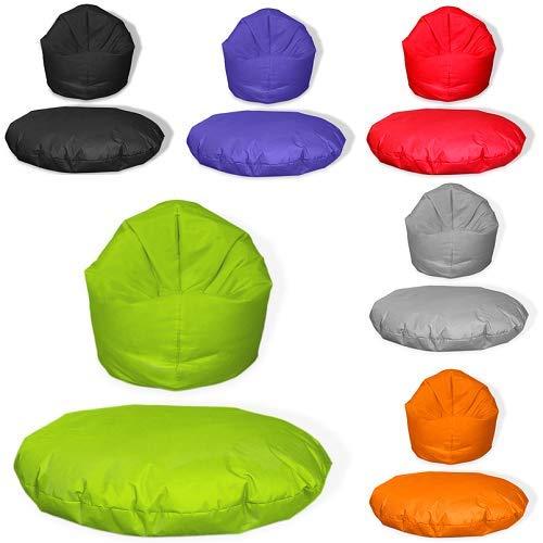 Sitzsack 2 in 1 mit Füllung Indoor Outdoor Sitzkissen 3 Größen Yoga Kissen BeanBag (100cm Durchmesser, Kiwi)