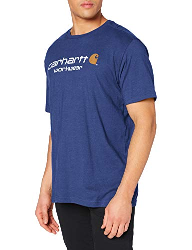 Carhartt Core Logo Short-Sleeve T-Shirt, Ink Blue Heather, X-Small Homme