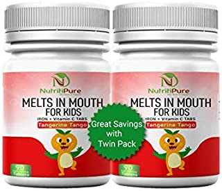 Kids Chewable Iron Supplement (Ferronyl®/Carbonyl Iron 9 mg with Vitamin C 30 mg) Tablet in Tangerine Tango Orange Flavor 90 Count (2 Bottles)