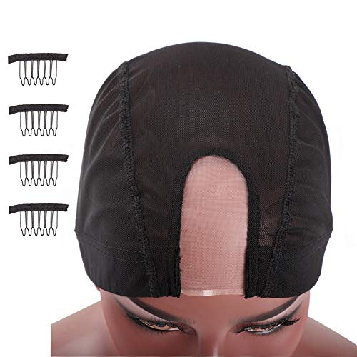 Nunify 2PCS U Part Dome Mesh Wig Cap For Making Wigs - Mesh Dome Wig Cap With Great Elastic Band for Hair Weaving (M/2PCS)