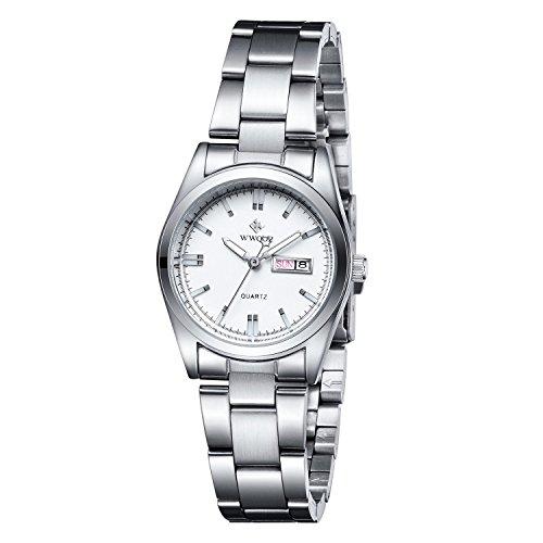 WWOOR Reloj de pulsera de acero inoxidable con esfera de color rosa para mujer