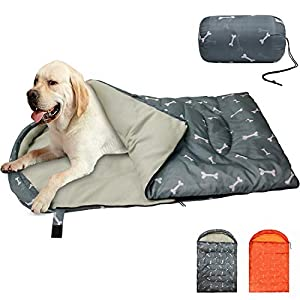 """KUDES Dog Sleeping Bag Waterproof Warm Packable Dog Bed Mat with Storage Bag for Indoor Outdoor Travel Camping Hiking Backpacking (43""""Lx27""""W)"""