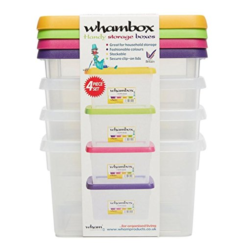 Whambox Handy Storage Boxes 1.5L - Set Of 4 (Clear/Assorted)