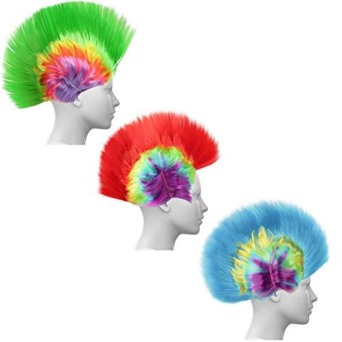 Kurtzy Set Peluca Rock Mohawk LED Multicolor Arcoris (Pack de 3) Pelucas Disfraz 80s Roquero Cresta Peluca Mujer, Hombre para Fiesta de Disfraces, Cosplay, Cumpleaos, Halloween - Peluca Punky