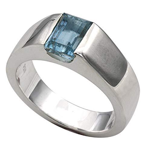 Aquamarin Anillo de plata de alta calidad (plata de ley 925) – Aquamarinring – Aqua – Anillo para mujer – Anillo para hombre