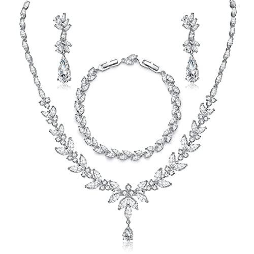 CERSLIMO Schmuckset Silber 925, Hochzeit Brautschmuck Set 5A Zirkonia Kette Armband Ohrringe Silber 925 Schmuck Set für Braut mit Geschenkbox Geschenke für Frauen