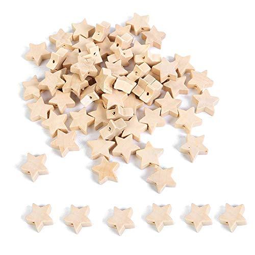 Cuasting Cuentas de madera con forma de estrella sin terminar con cuentas espaciadoras de madera con agujero para manualidades (19 mm, 100 unidades)