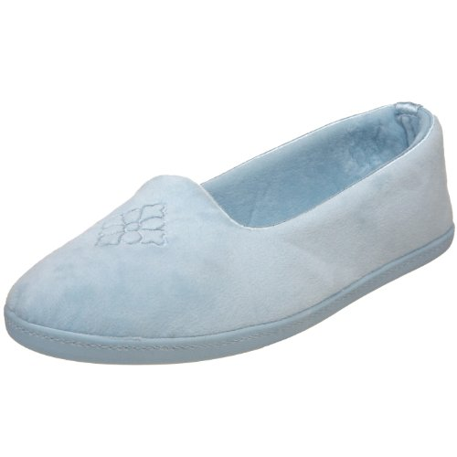 Dearfoams Plush Velour Closed-Back Women's Slipper – Padded Microfiber Slip-Ons with a Durable Outsole - 745,Resort Blue,Medium/7-8 M US