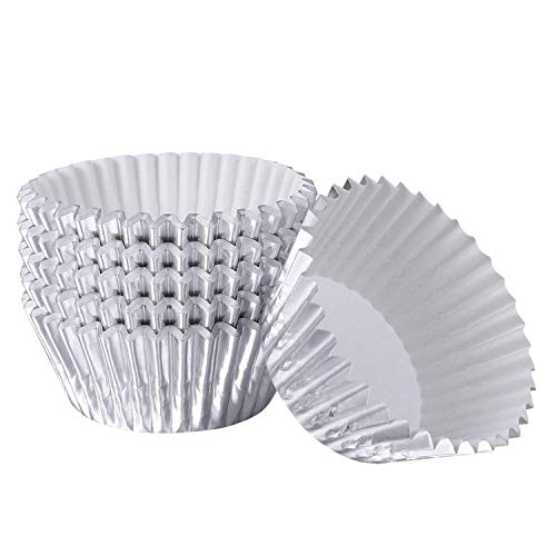 Cupcake Liners Aluminum Foil Cups Cake Muffin Molds for Baking (Silver) - 100 Pieces