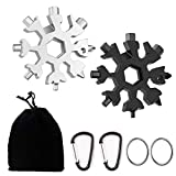 Snowflake Multi Tool, 18-in-1 Snowflake Tool with Carabiner Clip, Key Ring and Storage Bag, 2 Pcs, Black+Silver