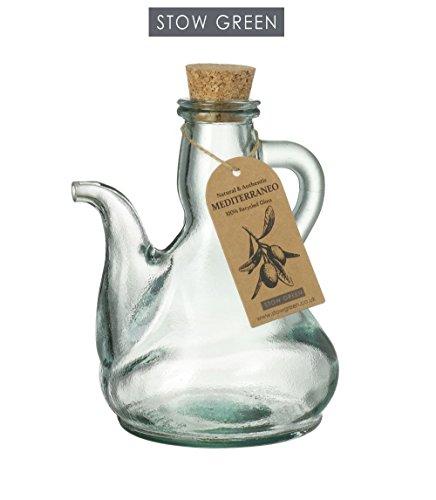 Stow Green SG2900 Mediterraneo Katalanische Olivenöl-Flasche, klares Grün, recyceltes Glas, 500 ml