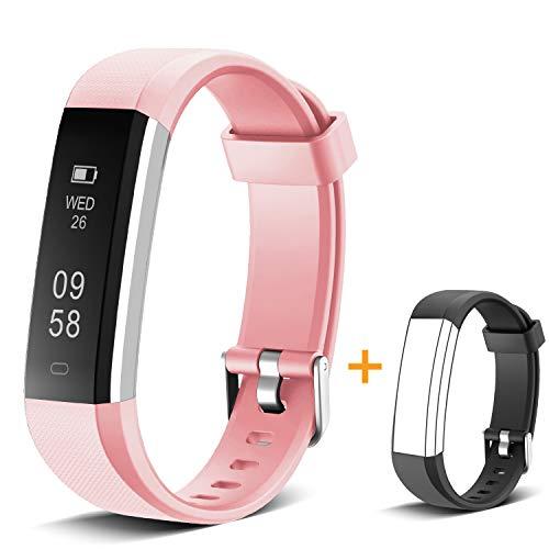 MUZILI Pulsera de Actividad Inteligente Fitness Tracker Impermeable Pulsera Actividad Reloj Deportivo con Podometro/Monitor de sueño/Notificación de Llamadas para Niños, Mujeres y Hombres (Rosa)