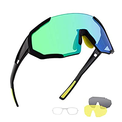OULAIQI Polarized Sports Sunglasses Mountain Bike Glasses for Man Woman with 3 Interchangeable Lens for Cycling Running Fishing Golf Sunglasses