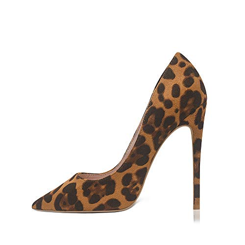 GENSHUO Stiletto Stiletto High Heels, 12CM/4.72IN Damen Pumps Spitz Party High Heels Sexy Basic Schuhe Damen Geschlossen Abendschuhe Lack/Wildleder ,Leopard Print Wildleder 39 EU(9 US)