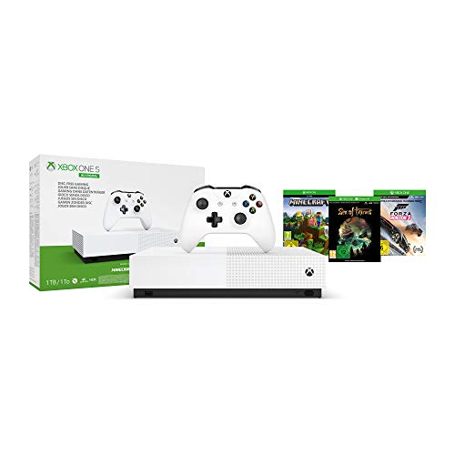 Pack Console Microsoft Xbox One S All Digital 1 To Blanc 3 Jeux inclus (Minecraft + Sea of Thieves + Forza Horizon 3) + 1 mois d'abonnement Xbox Live Gold