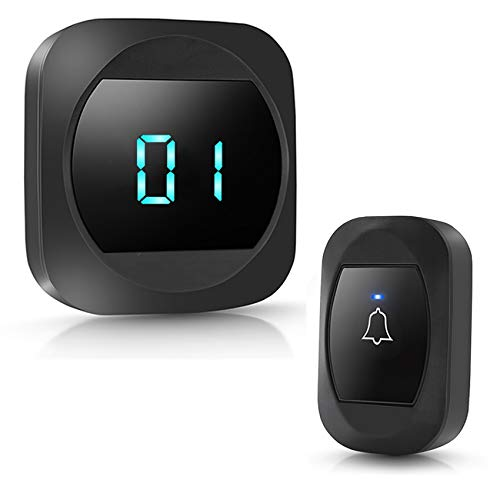 HUWOO Wireless DoorBell Waterproof LED Push Button Number Display LED Flash Door Bell for Home Office Store 38 Ringtones 4 Volume Levels Operating at 1000 Feet 1 Receiver & 1 Push Button Black