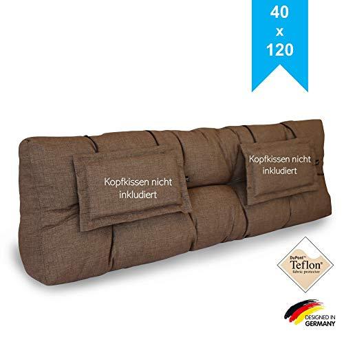 LILENO HOME Palettenkissen Set Taupe - Rückenkissen 120x40x20 cm - Polster für Europaletten - Palettenkissen Outdoor als Sitzkissen für Palettenmöbel