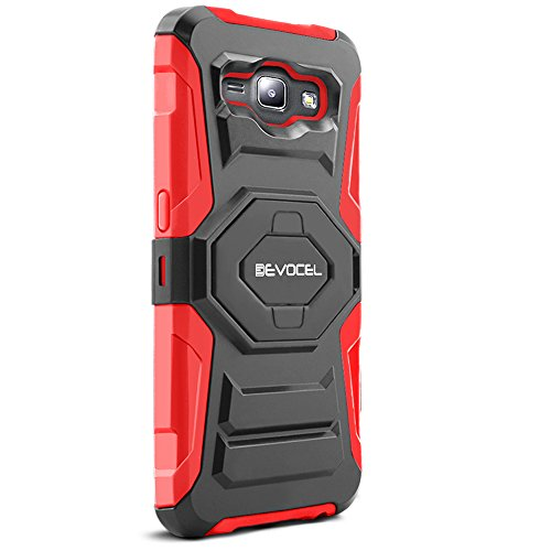 Evocel Galaxy J1 (2015) Case, [New Generation Series] Belt Clip Holster, Kickstand, Dual Layer for Samsung Galaxy J1 (Model No J100) / J1 (2015 Release), Red (EVO-SAMJ1-XX03)