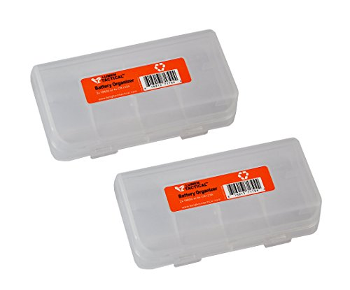 Pair of Lumen Tactical Clear Color 4x CR123A or 2x Button top 18650 Battery Organizer/Storage Case/Battery Box