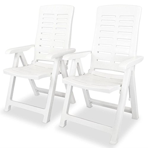 Roderick Irving Lot de 2 chaises de jardin réglables en plastique Blanc 60 x 61 x 108 cm