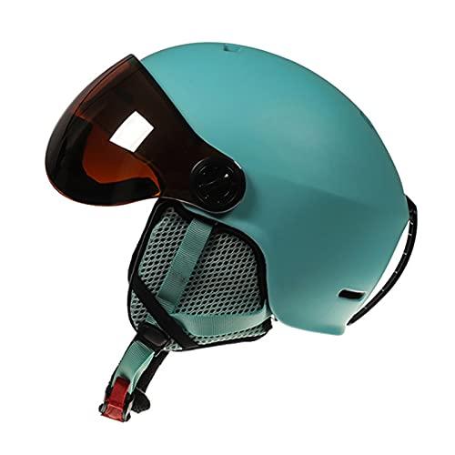 ZRN Casco da Mountain Bike Regolabile e Sicuro da Campeggio con Fodera in Peluche Corta Rimovibile, Occhiali da Sci e Protezioni per Le Orecchie, Approvato DOT/ECE
