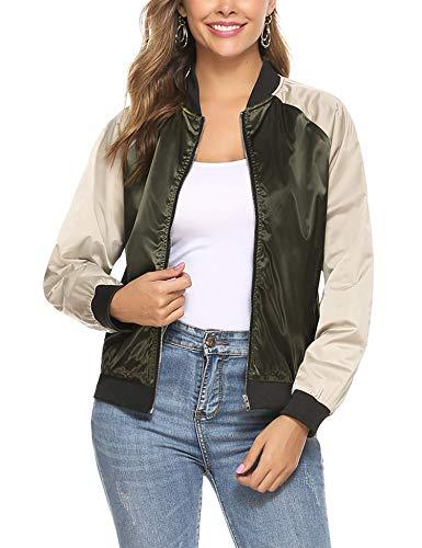 Aibrou Bomber Jacket Giacca Donna con Cerniera Maniche Lunghe Eleganti Outerwear Cappotto Vintage Essential (Verde dell'Esercito*2, X-Large)
